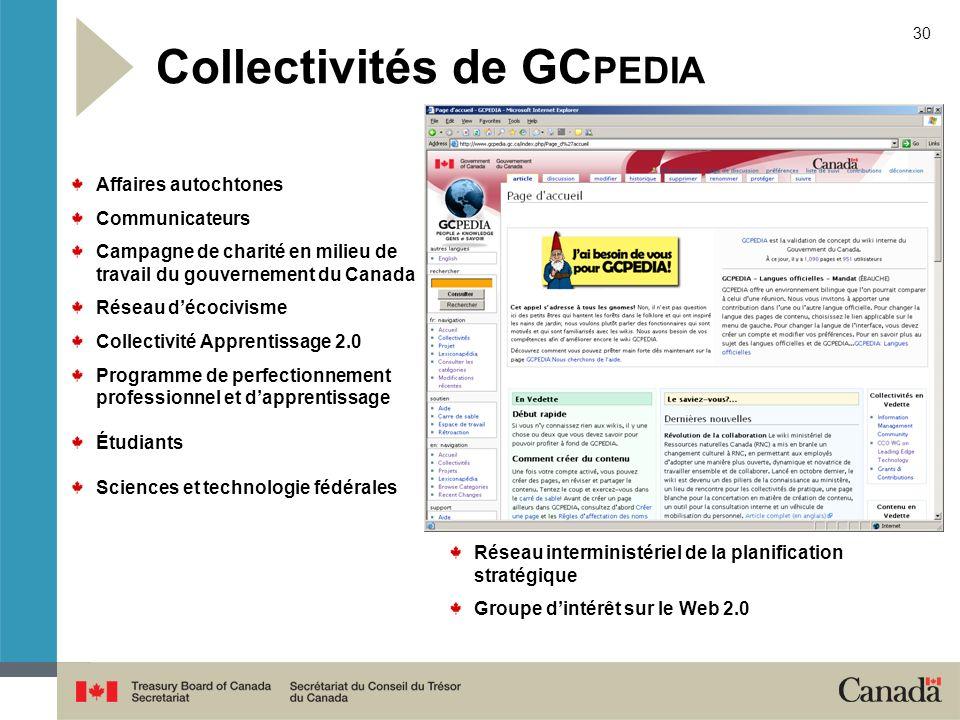 30 Collectivités de GC PEDIA Affaires autochtones Communicateurs Campagne de charité en milieu de travail du gouvernement du Canada Réseau décocivisme