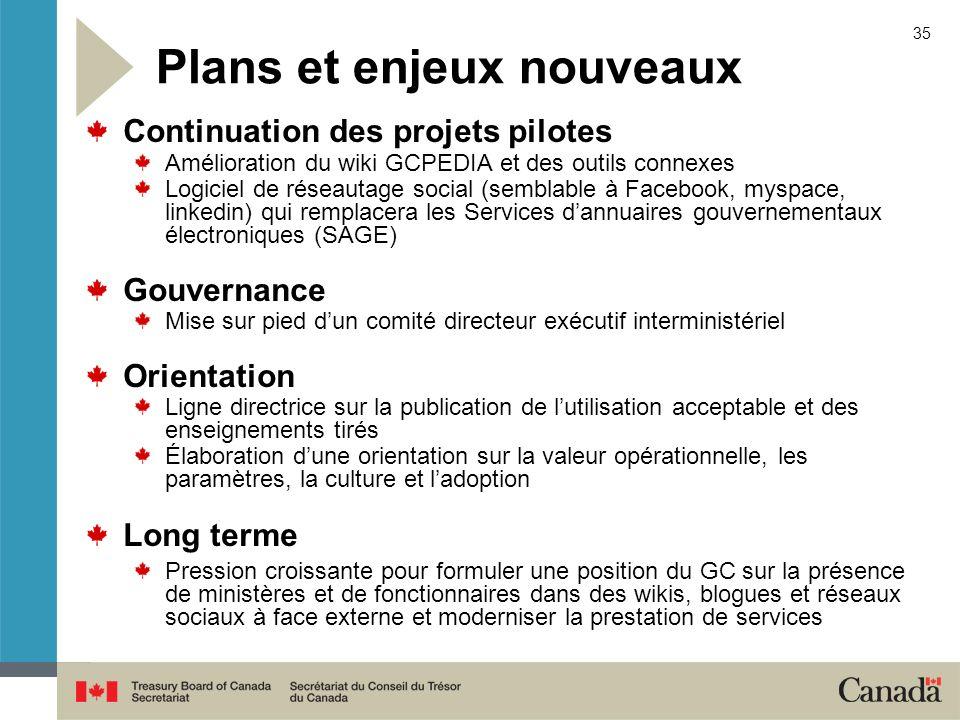 35 Plans et enjeux nouveaux Continuation des projets pilotes Amélioration du wiki GCPEDIA et des outils connexes Logiciel de réseautage social (sembla