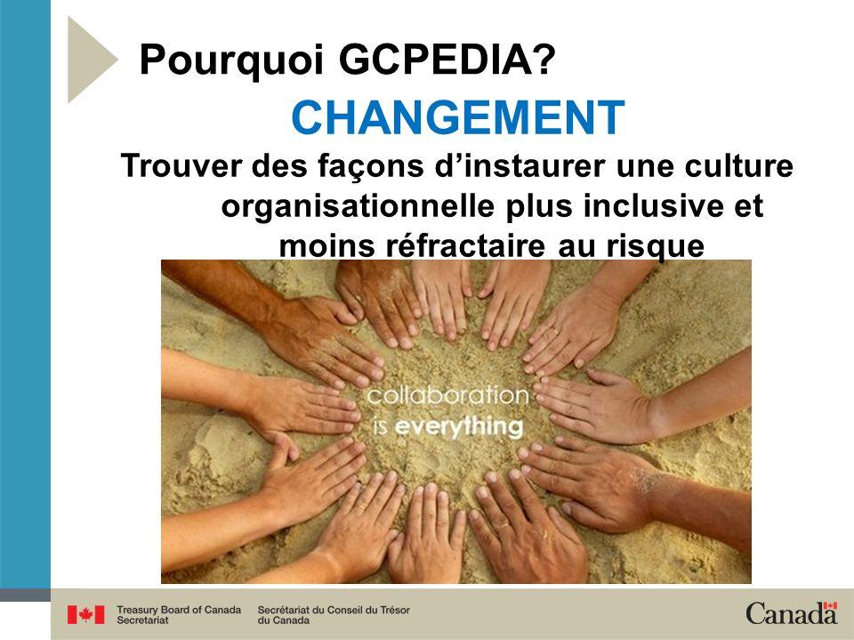 Pourquoi GCPEDIA? CHANGEMENT Trouver des façons dinstaurer une culture organisationnelle plus inclusive et moins réfractaire au risque