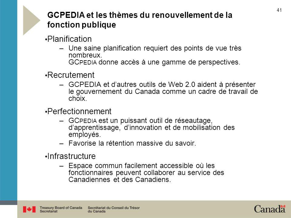 41 GCPEDIA et les thèmes du renouvellement de la fonction publique Planification –Une saine planification requiert des points de vue très nombreux. GC