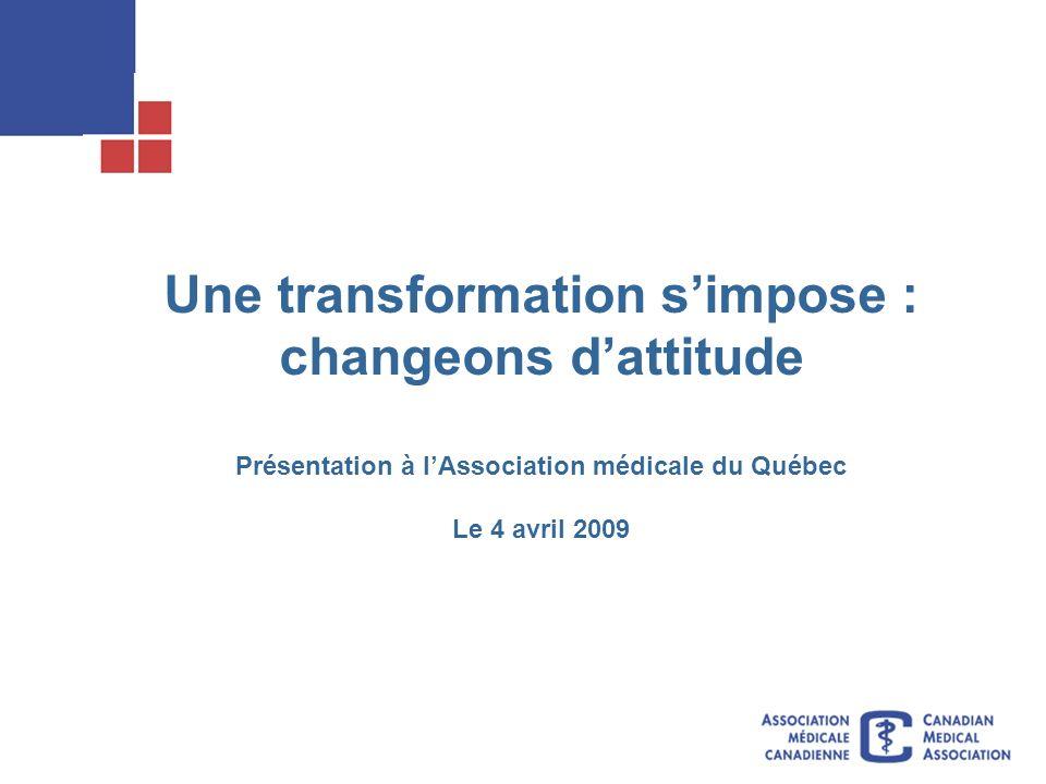 Une transformation simpose : changeons dattitude Présentation à lAssociation médicale du Québec Le 4 avril 2009