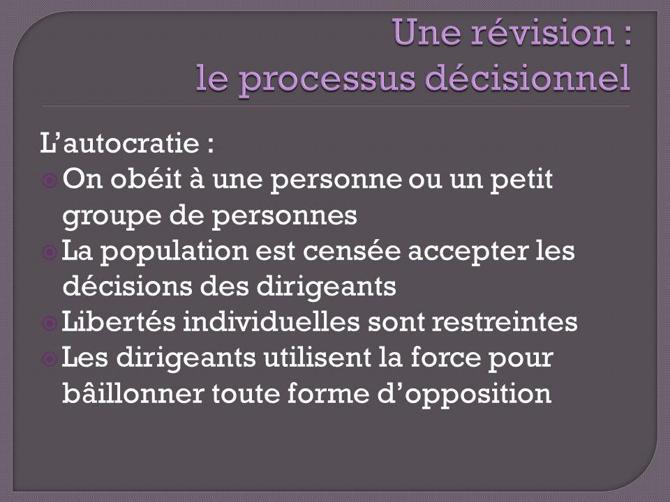 Lautocratie : On obéit à une personne ou un petit groupe de personnes La population est censée accepter les décisions des dirigeants Libertés individu