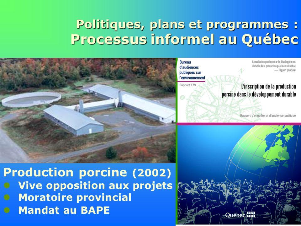 Politiques, plans et programmes : Processus informel au Québec Production porcine (2002) Vive opposition aux projets Moratoire provincial Mandat au BA