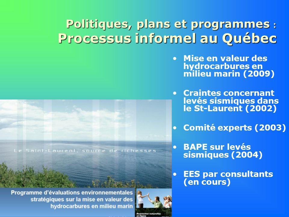 Politiques, plans et programmes : Processus informel au Québec Mise en valeur des hydrocarbures en milieu marin (2009) Craintes concernant levés sismi