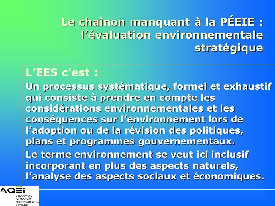 Le chaînon manquant à la PÉEIE : lévaluation environnementale stratégique LEES cest : Un processus systématique, formel et exhaustif qui consiste à pr