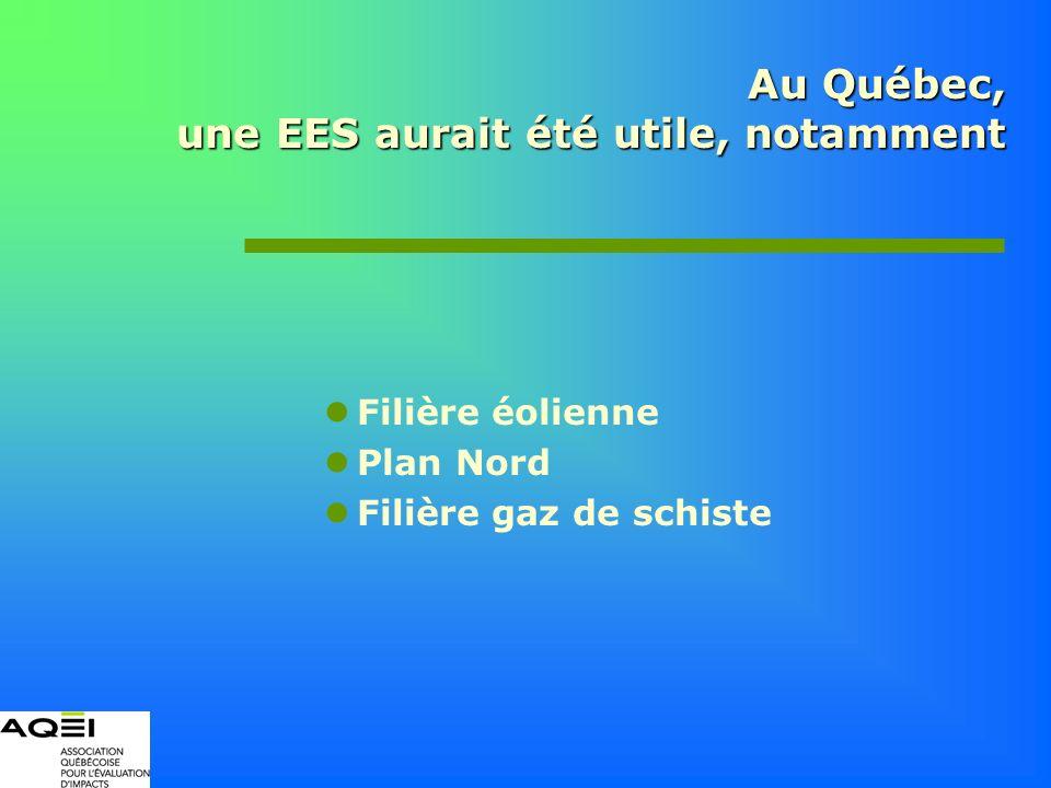 Au Québec, une EES aurait été utile, notamment Filière éolienne Plan Nord Filière gaz de schiste