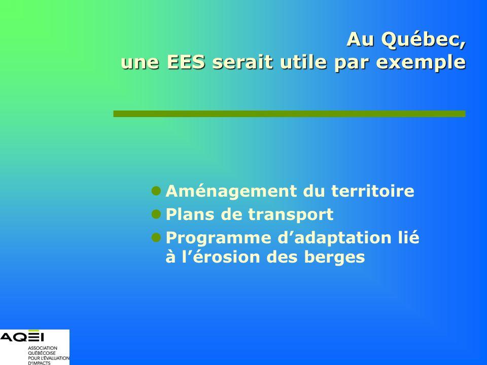 Au Québec, une EES serait utile par exemple Aménagement du territoire Plans de transport Programme dadaptation lié à lérosion des berges