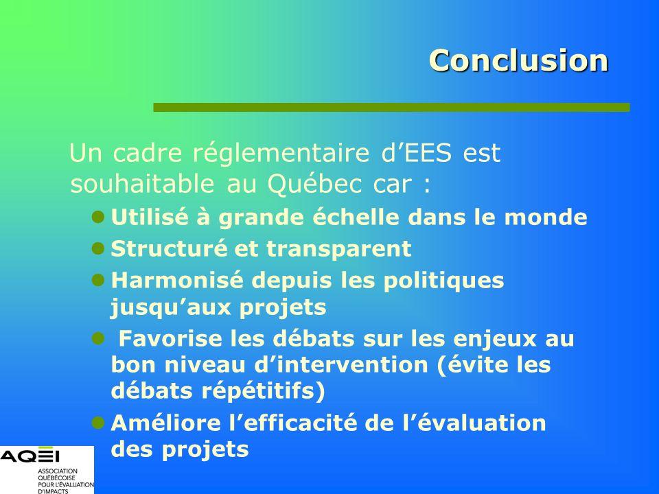Conclusion Un cadre réglementaire dEES est souhaitable au Québec car : Utilisé à grande échelle dans le monde Structuré et transparent Harmonisé depui