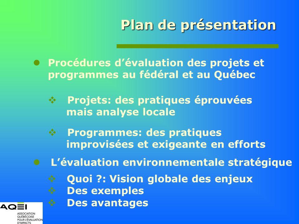 Plan de présentation Procédures dévaluation des projets et programmes au fédéral et au Québec Projets: des pratiques éprouvées mais analyse locale Pro