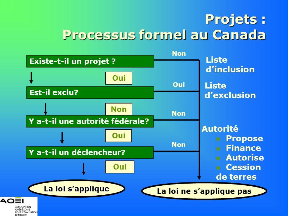 Projets : Processus formel au Canada Liste dexclusion Est-il exclu? Non Oui Existe-t-il un projet ? Oui La loi ne sapplique pas Non Autorité Propose F