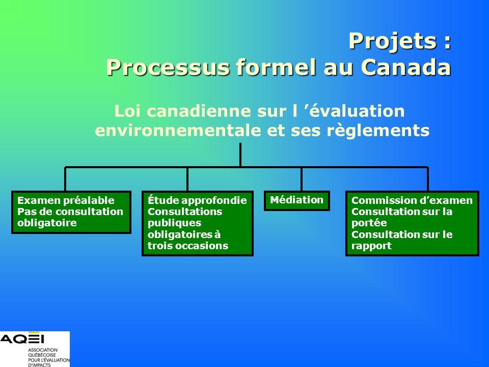 Projets : Processus formel au Canada Loi canadienne sur l évaluation environnementale et ses règlements Examen préalable Pas de consultation obligatoi