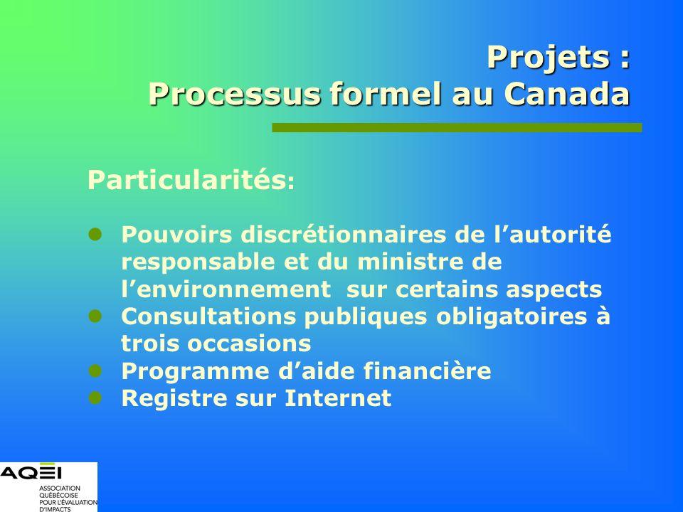 Projets : Processus formel au Canada Particularités : Pouvoirs discrétionnaires de lautorité responsable et du ministre de lenvironnement sur certains