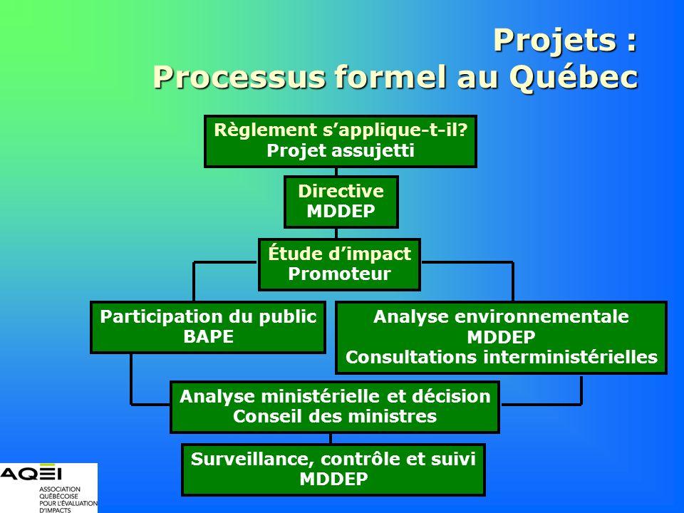 Projets : Processus formel au Québec Règlement sapplique-t-il? Projet assujetti Directive MDDEP Étude dimpact Promoteur Participation du public BAPE A