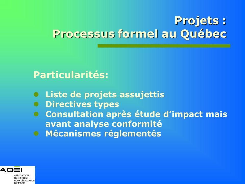 Projets : Processus formel au Québec Particularités: Liste de projets assujettis Directives types Consultation après étude dimpact mais avant analyse