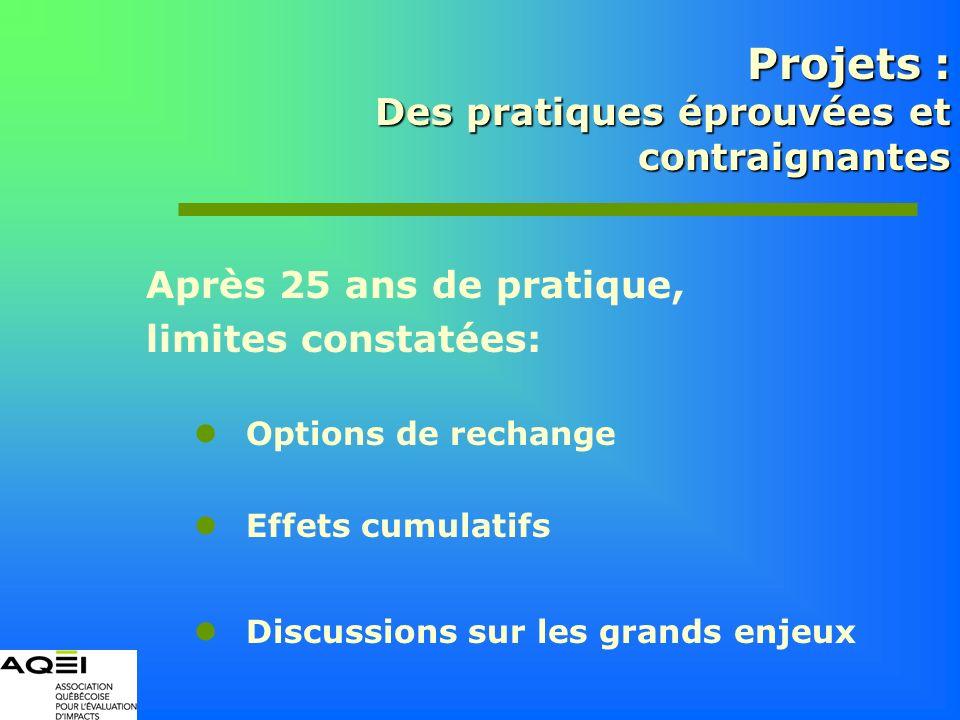 Après 25 ans de pratique, limites constatées: Options de rechange Effets cumulatifs Discussions sur les grands enjeux Projets : Des pratiques éprouvée