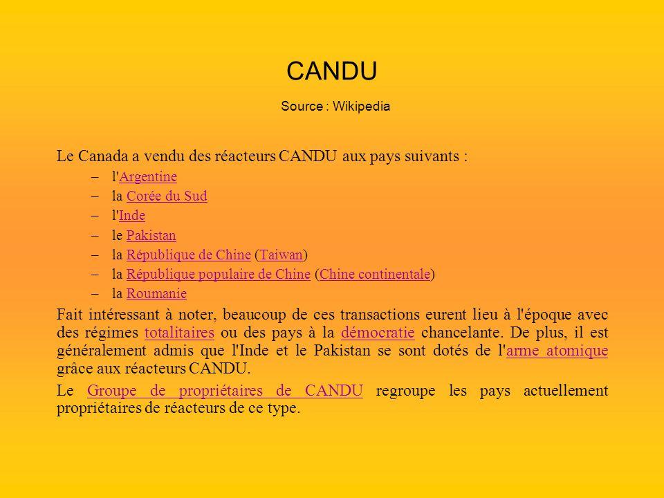 CANDU Source : Wikipedia Le Canada a vendu des réacteurs CANDU aux pays suivants : –l'ArgentineArgentine –la Corée du SudCorée du Sud –l'IndeInde –le