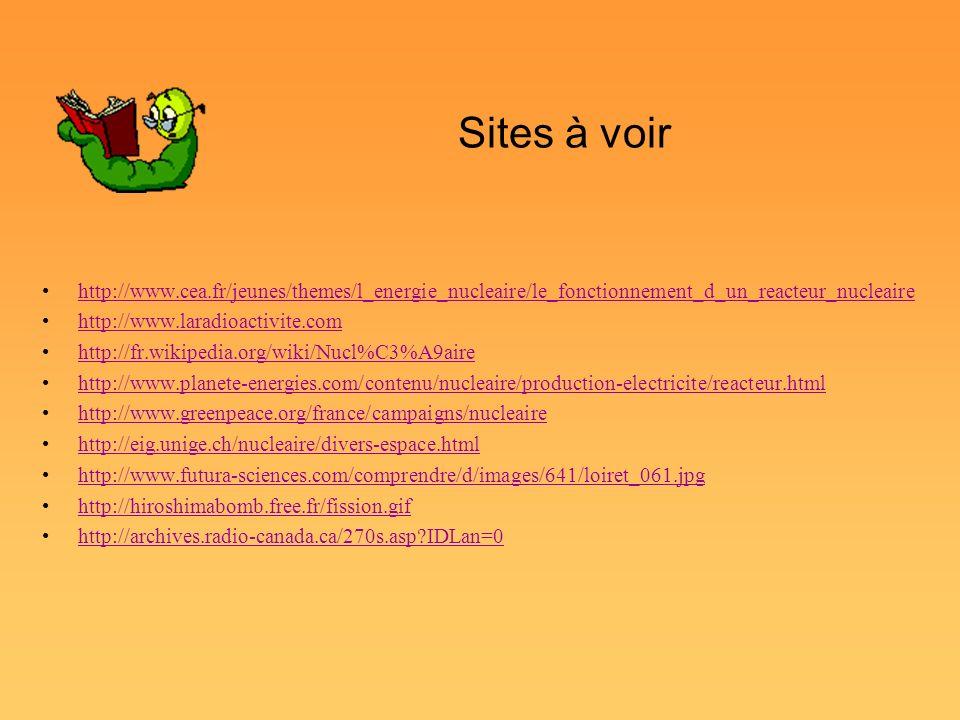 Sites à voir http://www.cea.fr/jeunes/themes/l_energie_nucleaire/le_fonctionnement_d_un_reacteur_nucleaire http://www.laradioactivite.com http://fr.wi
