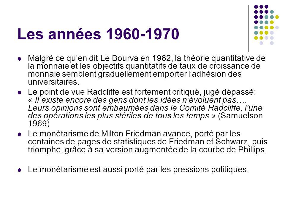 Les années 1960-1970 Malgré ce quen dit Le Bourva en 1962, la théorie quantitative de la monnaie et les objectifs quantitatifs de taux de croissance d