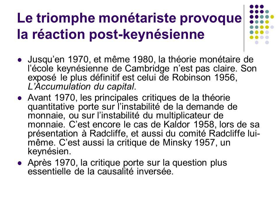 Le triomphe monétariste provoque la réaction post-keynésienne Jusquen 1970, et même 1980, la théorie monétaire de lécole keynésienne de Cambridge nest