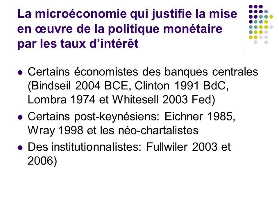 La microéconomie qui justifie la mise en œuvre de la politique monétaire par les taux dintérêt Certains économistes des banques centrales (Bindseil 20