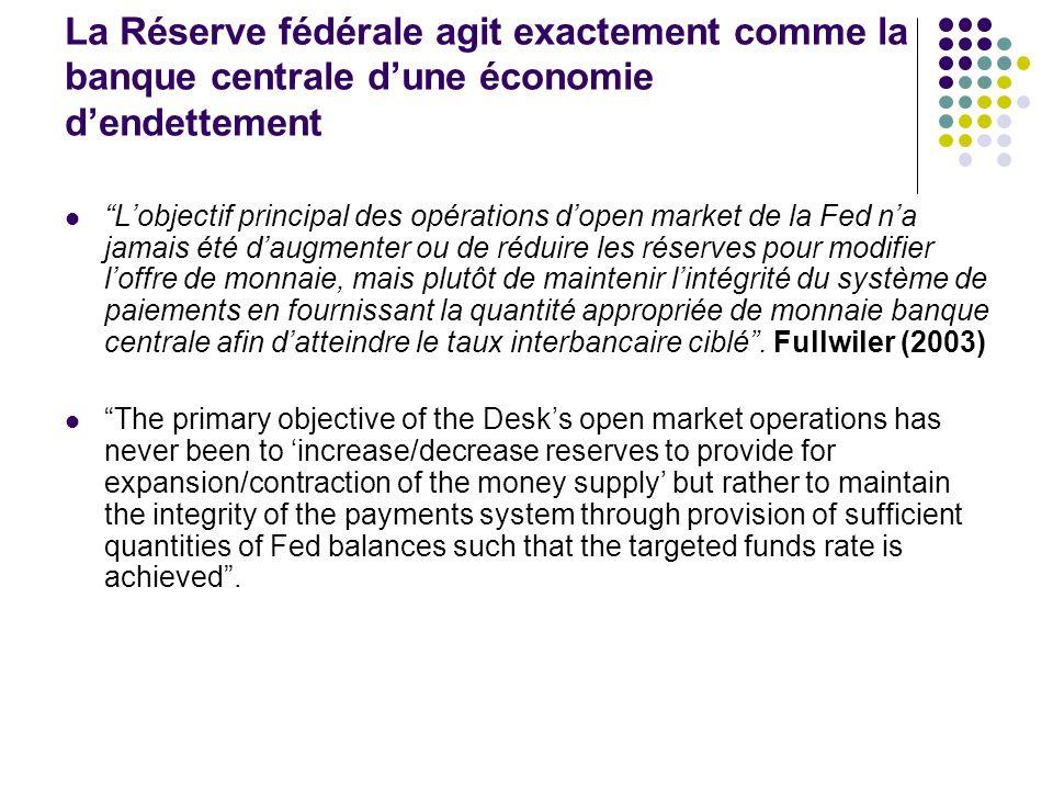 La Réserve fédérale agit exactement comme la banque centrale dune économie dendettement Lobjectif principal des opérations dopen market de la Fed na j