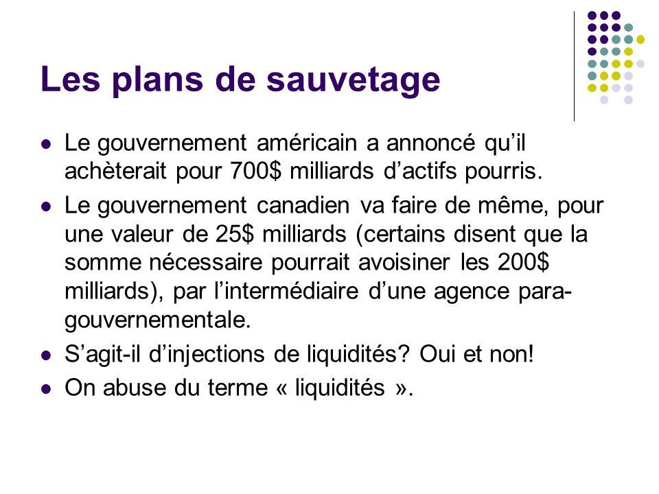 Les plans de sauvetage Le gouvernement américain a annoncé quil achèterait pour 700$ milliards dactifs pourris. Le gouvernement canadien va faire de m