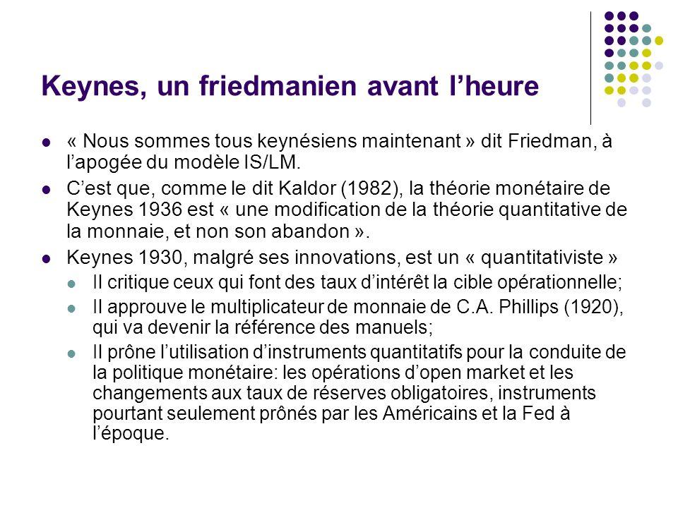 Keynes, un friedmanien avant lheure « Nous sommes tous keynésiens maintenant » dit Friedman, à lapogée du modèle IS/LM. Cest que, comme le dit Kaldor