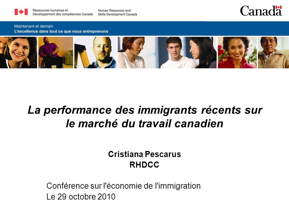 La performance des immigrants récents sur le marché du travail canadien Cristiana Pescarus RHDCC Conférence sur l économie de l immigration Le 29 octobre 2010