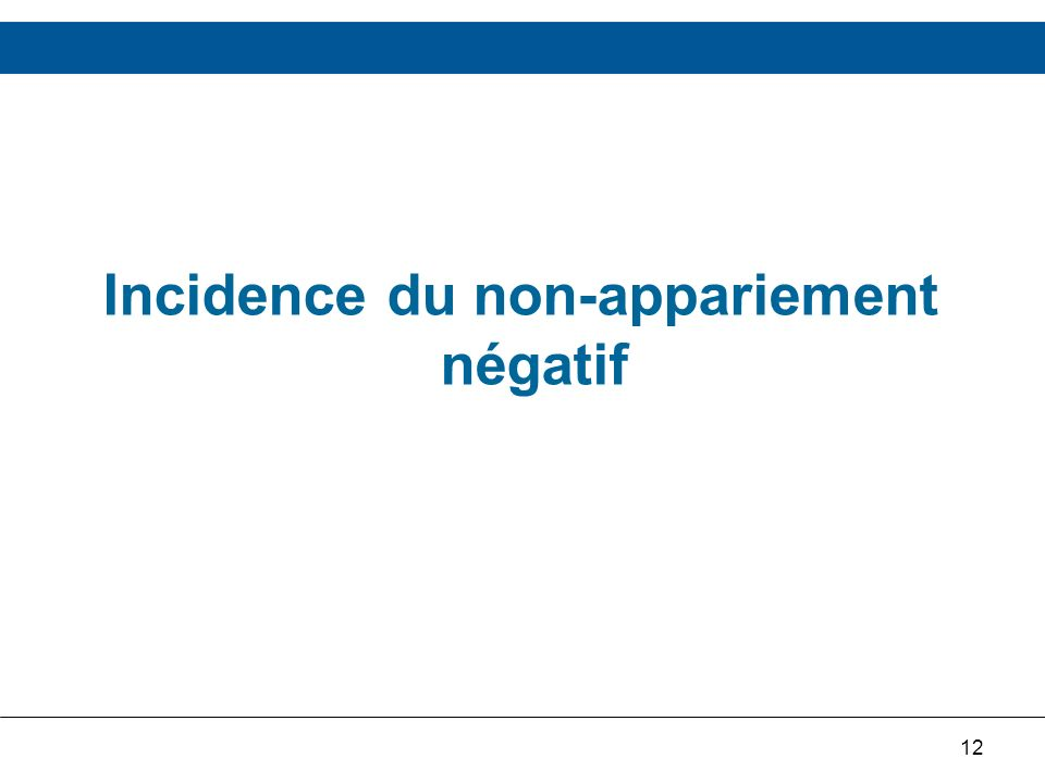 12 Incidence du non-appariement négatif