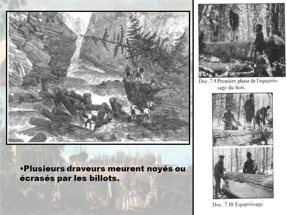 Plusieurs draveurs meurent noyés ou écrasés par les billots.