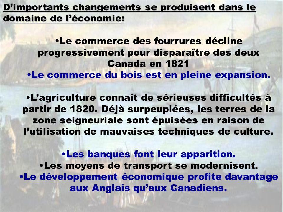 Dimportants changements se produisent dans le domaine de léconomie: Le commerce des fourrures décline progressivement pour disparaître des deux Canada