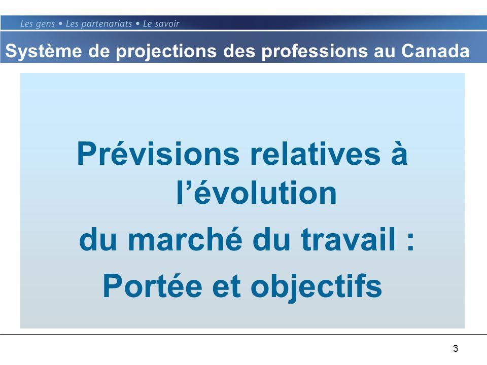 3 Prévisions relatives à lévolution du marché du travail : Portée et objectifs Système de projections des professions au Canada