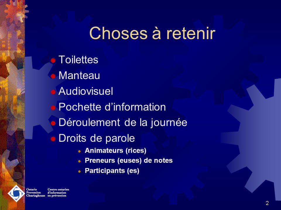 2 Choses à retenir Toilettes Manteau Audiovisuel Pochette dinformation Déroulement de la journée Droits de parole Animateurs (rices) Preneurs (euses) de notes Participants (es)