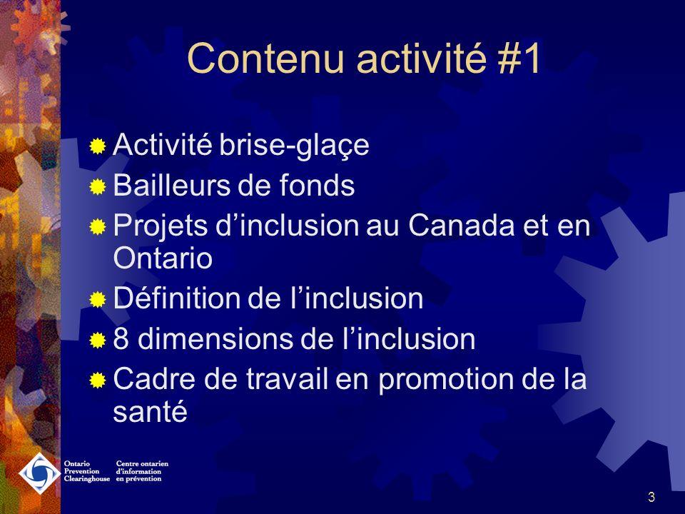 13 Linclusion en Ontario Centre ontarien dinformation en prévention / Ontario Prevention Clearinghouse Forums communautaires « J en fais partie.