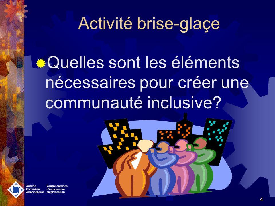 3 Contenu activité #1 Activité brise-glaçe Bailleurs de fonds Projets dinclusion au Canada et en Ontario Définition de linclusion 8 dimensions de linclusion Cadre de travail en promotion de la santé