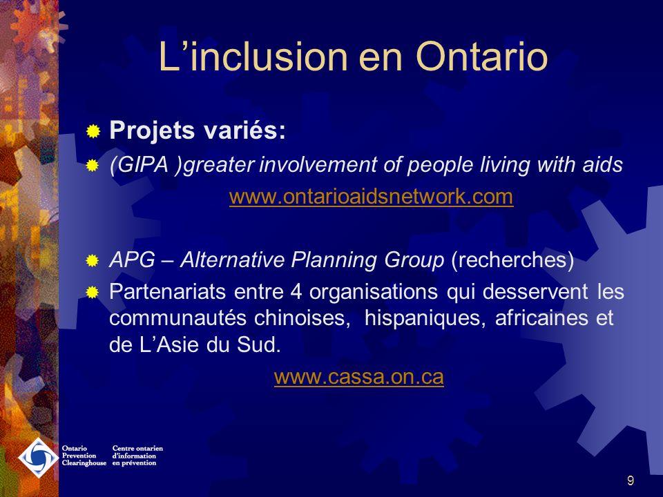 9 Linclusion en Ontario Projets variés: (GIPA )greater involvement of people living with aids www.ontarioaidsnetwork.com APG – Alternative Planning Group (recherches) Partenariats entre 4 organisations qui desservent les communautés chinoises, hispaniques, africaines et de LAsie du Sud.