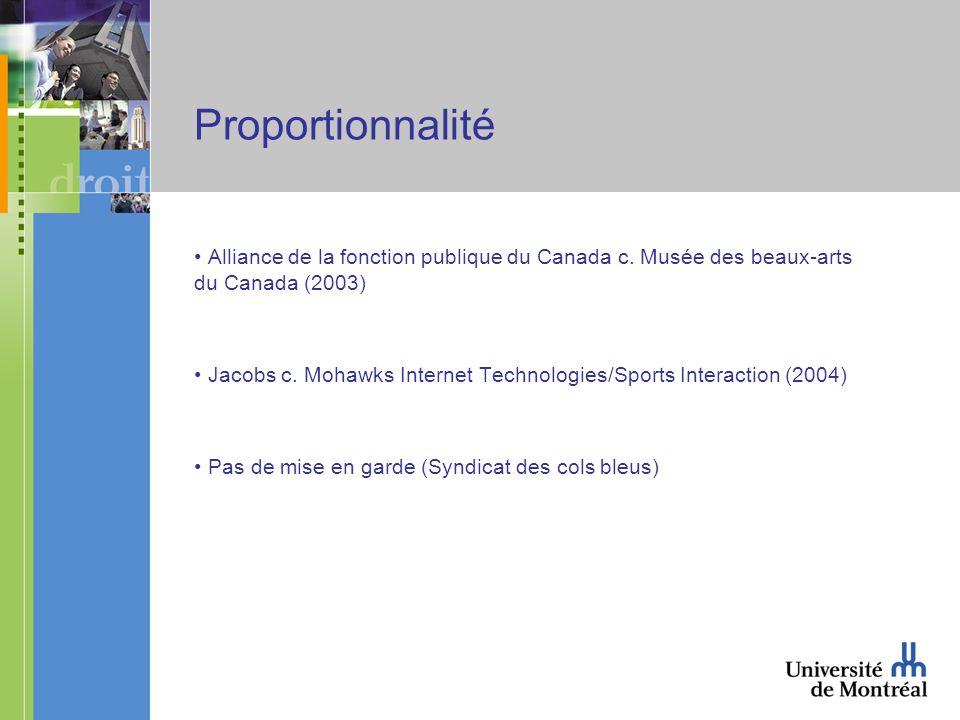 Proportionnalité Alliance de la fonction publique du Canada c.