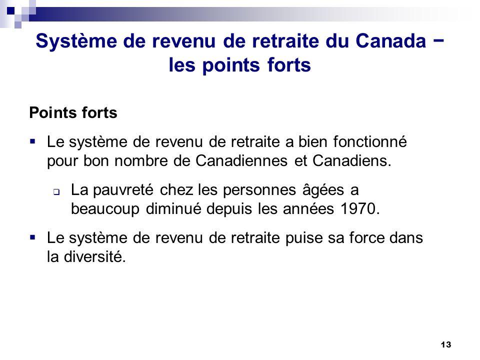 13 Système de revenu de retraite du Canada les points forts Points forts Le système de revenu de retraite a bien fonctionné pour bon nombre de Canadiennes et Canadiens.