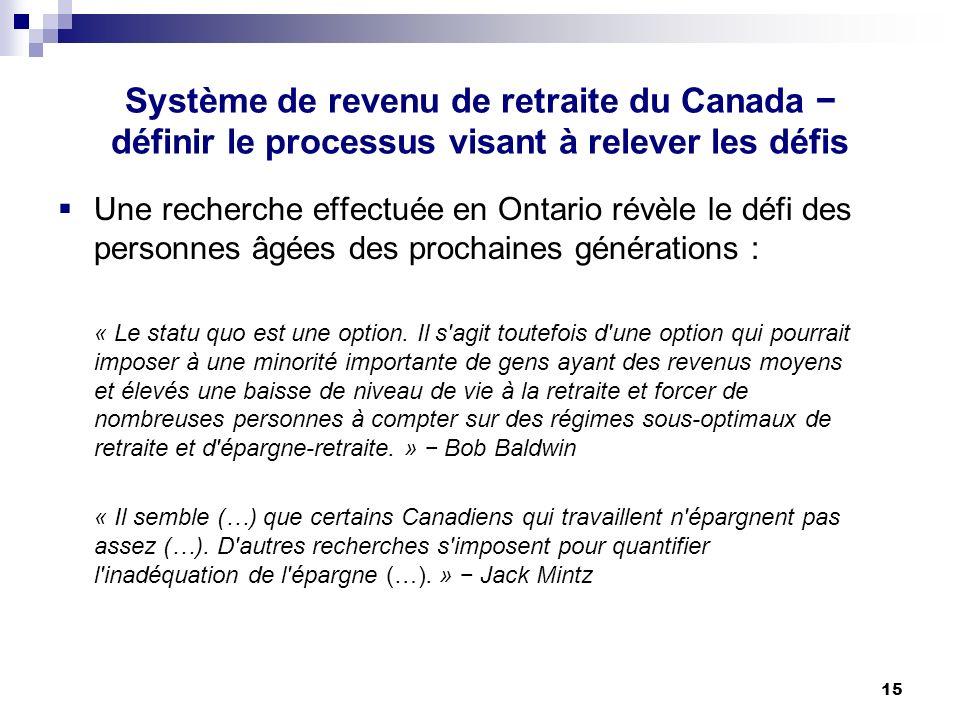 15 Système de revenu de retraite du Canada définir le processus visant à relever les défis Une recherche effectuée en Ontario révèle le défi des personnes âgées des prochaines générations : « Le statu quo est une option.