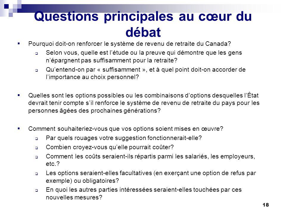 18 Questions principales au cœur du débat Pourquoi doit-on renforcer le système de revenu de retraite du Canada.