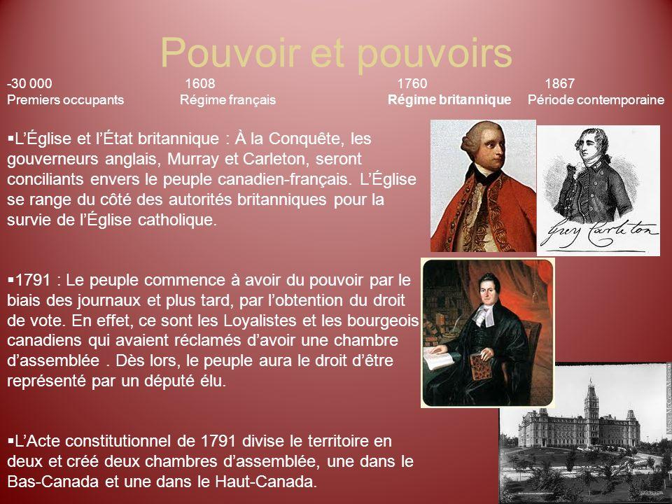 Pouvoir et pouvoirs -30 000 1608 17601867 Premiers occupants Régime français Régime britannique Période contemporaine LÉglise et lÉtat britannique : À