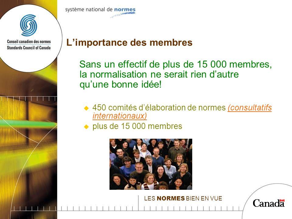LES NORMES BIEN EN VUE Limportance des membres Sans un effectif de plus de 15 000 membres, la normalisation ne serait rien dautre quune bonne idée.