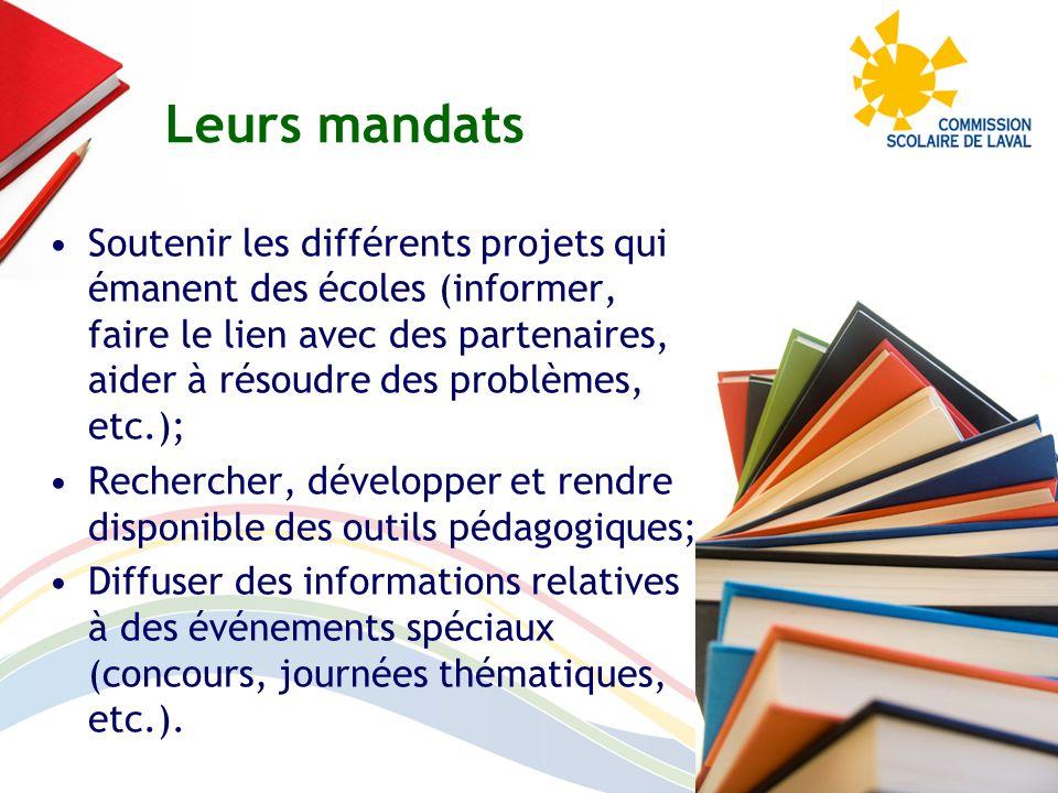Soutenir les différents projets qui émanent des écoles (informer, faire le lien avec des partenaires, aider à résoudre des problèmes, etc.); Recherche