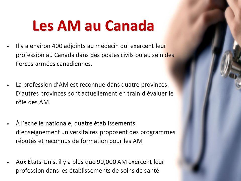 Les AM au Canada Il y a environ 400 adjoints au médecin qui exercent leur profession au Canada dans des postes civils ou au sein des Forces armées canadiennes.