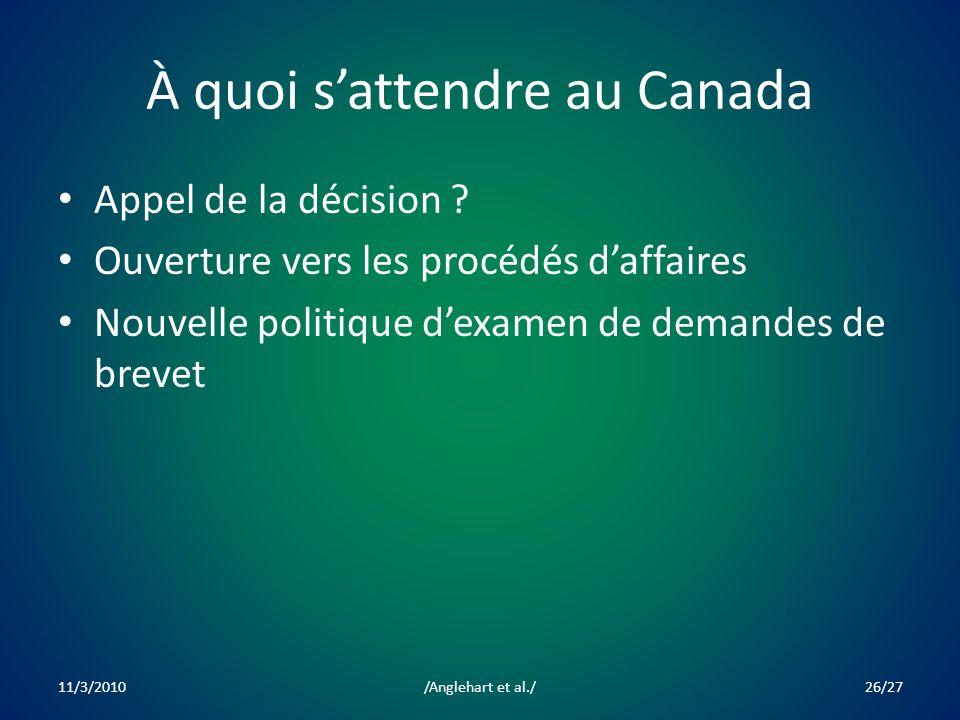 À quoi sattendre au Canada Appel de la décision .