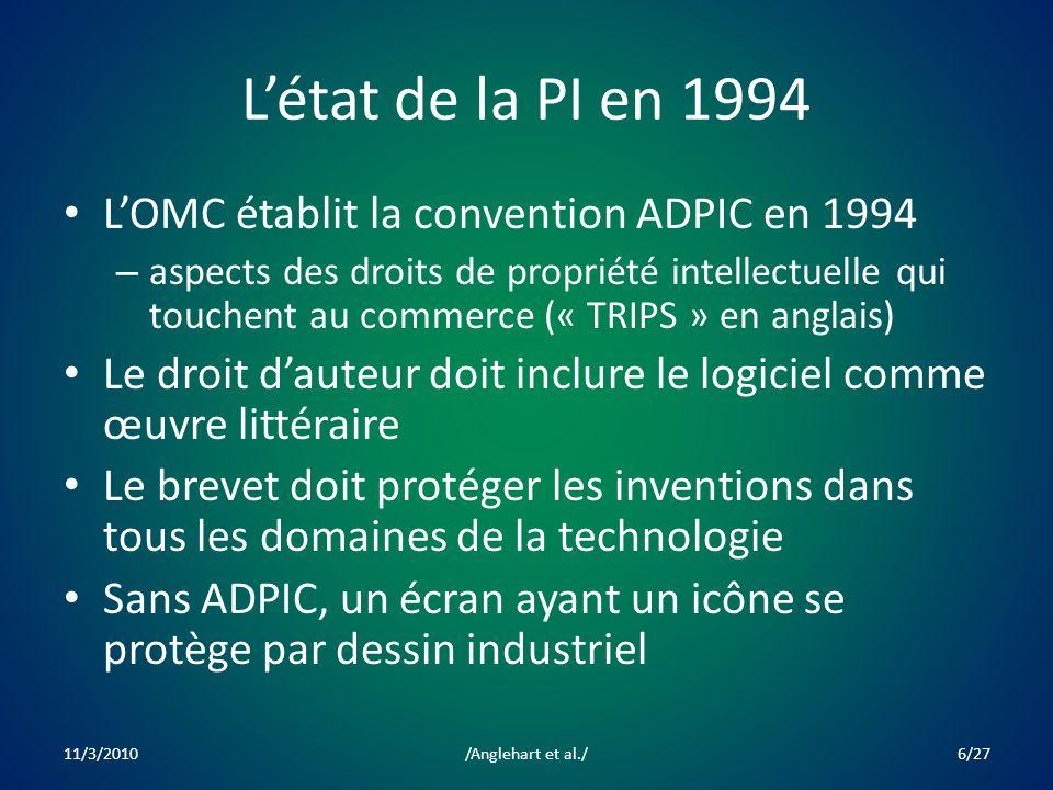 Létat de la PI en 1994 LOMC établit la convention ADPIC en 1994 – aspects des droits de propriété intellectuelle qui touchent au commerce (« TRIPS » en anglais) Le droit dauteur doit inclure le logiciel comme œuvre littéraire Le brevet doit protéger les inventions dans tous les domaines de la technologie Sans ADPIC, un écran ayant un icône se protège par dessin industriel 11/3/20106/27/Anglehart et al./