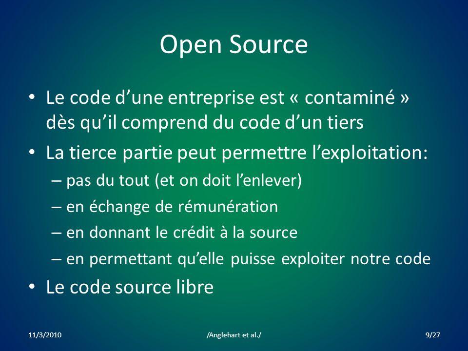 Open Source Le code dune entreprise est « contaminé » dès quil comprend du code dun tiers La tierce partie peut permettre lexploitation: – pas du tout (et on doit lenlever) – en échange de rémunération – en donnant le crédit à la source – en permettant quelle puisse exploiter notre code Le code source libre 11/3/20109/27/Anglehart et al./