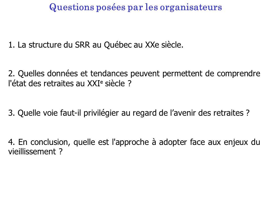 Questions posées par les organisateurs 1.La structure du SRR au Québec au XXe siècle.