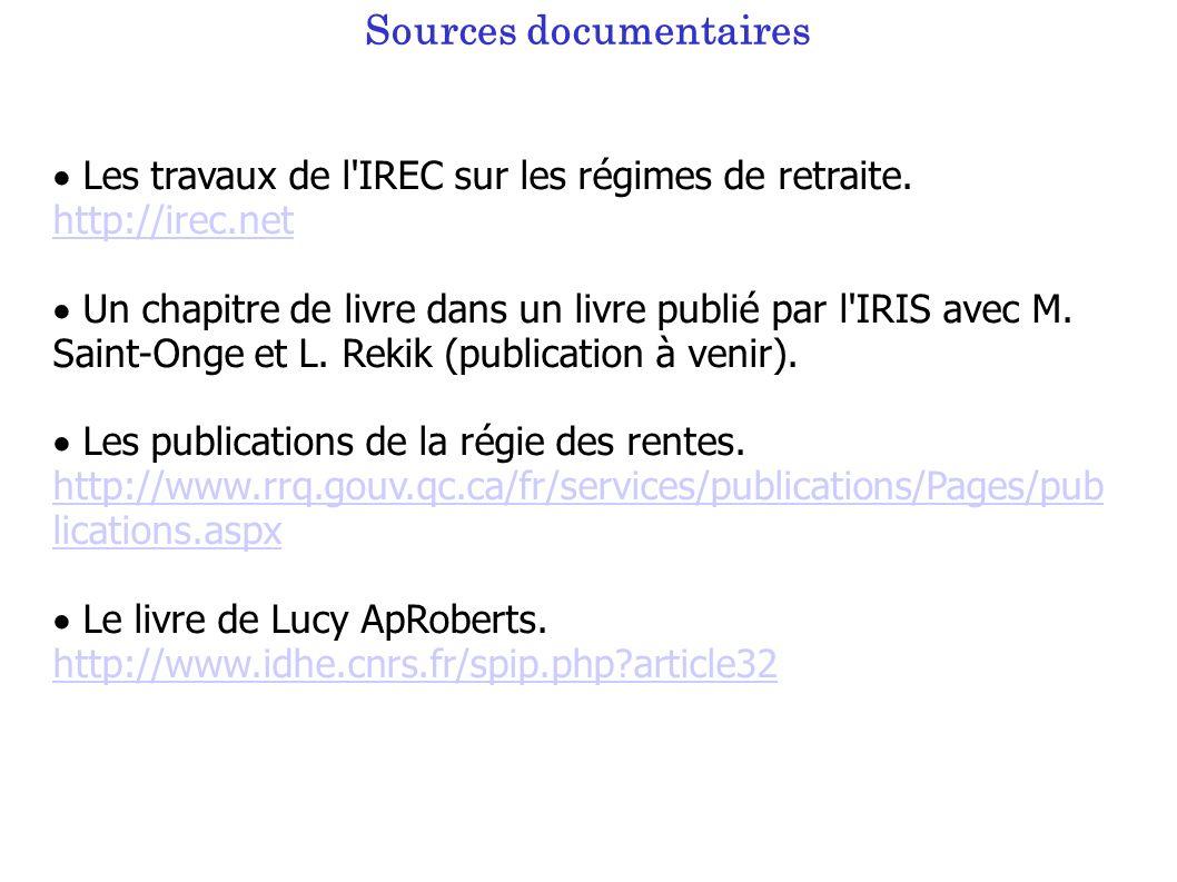 Sources documentaires Les travaux de l IREC sur les régimes de retraite.