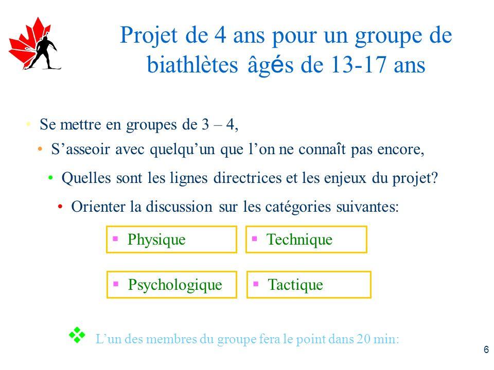 6 Projet de 4 ans pour un groupe de biathlètes âg é s de 13-17 ans Se mettre en groupes de 3 – 4, Sasseoir avec quelquun que lon ne conna î t pas encore, Quelles sont les lignes directrices et les enjeux du projet.